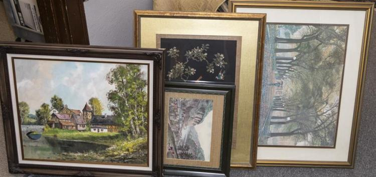 Four pieces of framed art including an oil painting signed by artist depicting English cottages, and others