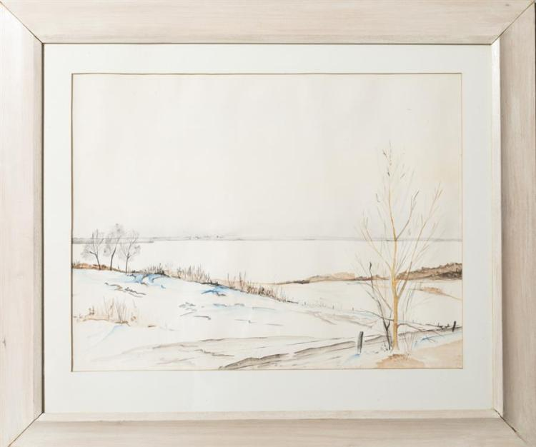 J. Scharitz, 20th century, Winter landscape, 1951, watercolor on paper, 18 x 24 inches