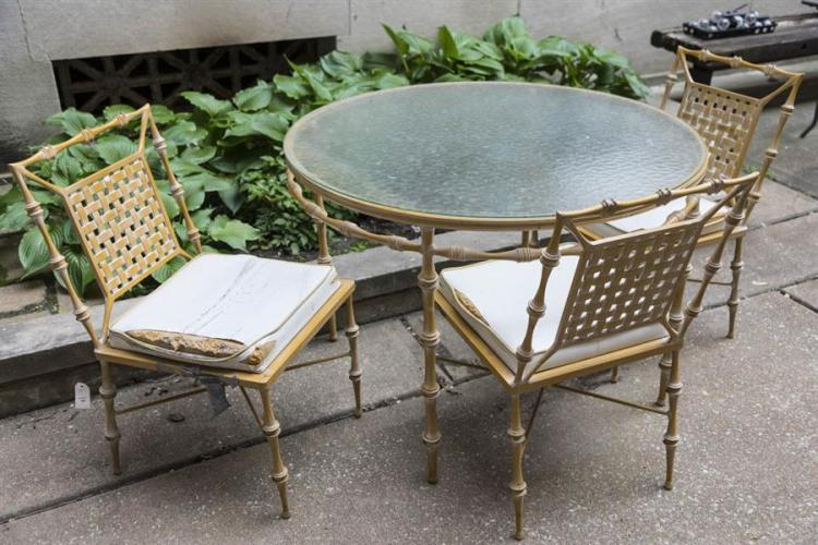 Outdoor Patio Set, Glass Top Round Table And Four Chairs