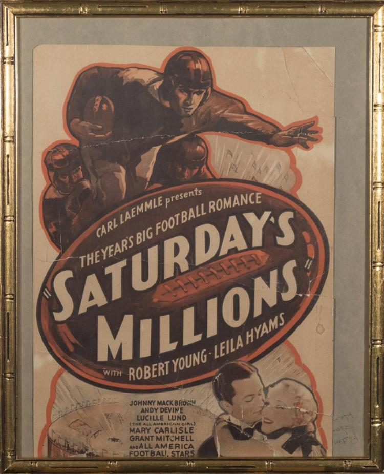Carl Laemmle's Saturday's Millions, with Robert Young and Leila Hyams, window card, trimmed, creases