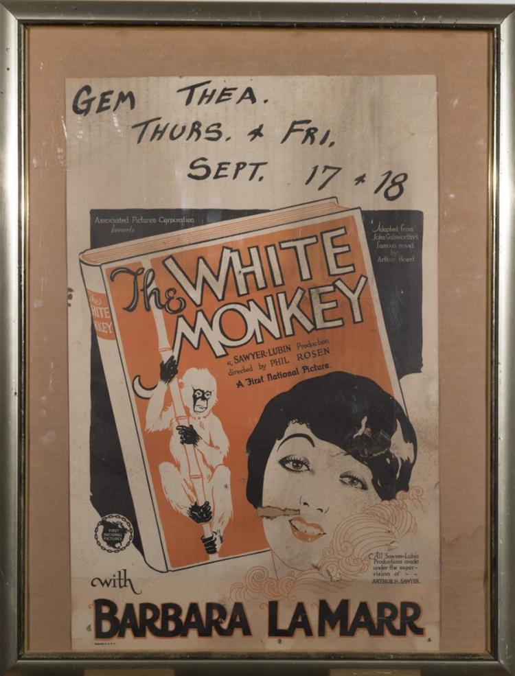 The White Monkey, with Barbara Lamar, window card, losses, framed