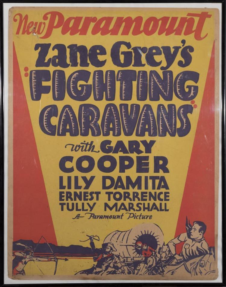 Zane Grey's Fighting Caravans with Gary Cooper, trolley card