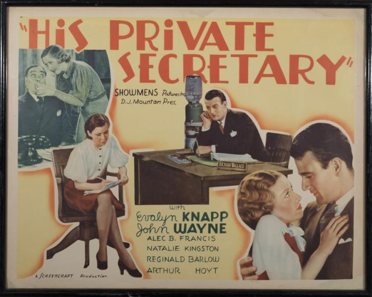 His Private Sectretary, with Evalyn Knapp and John Wayne, half sheet movie poster