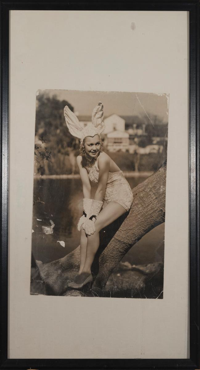 Jane Wyman, black and white vintage photo, Wyman dressed as an easter bunny, by Muky, stamped on the reverse, framed