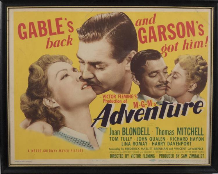 Adventure, 1945, with Clark Gable and Greer Garson, lobby card