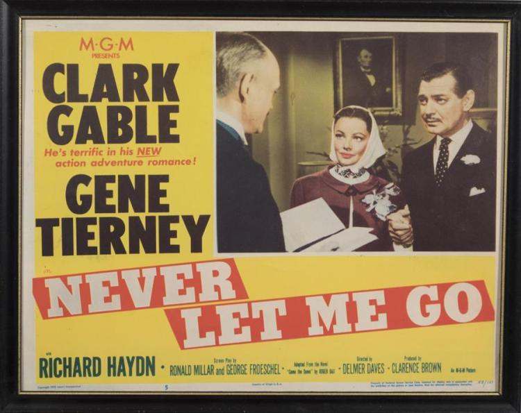 Never Let me Go, 1953, with Clark Gable and Gene Tierney, lobby card.