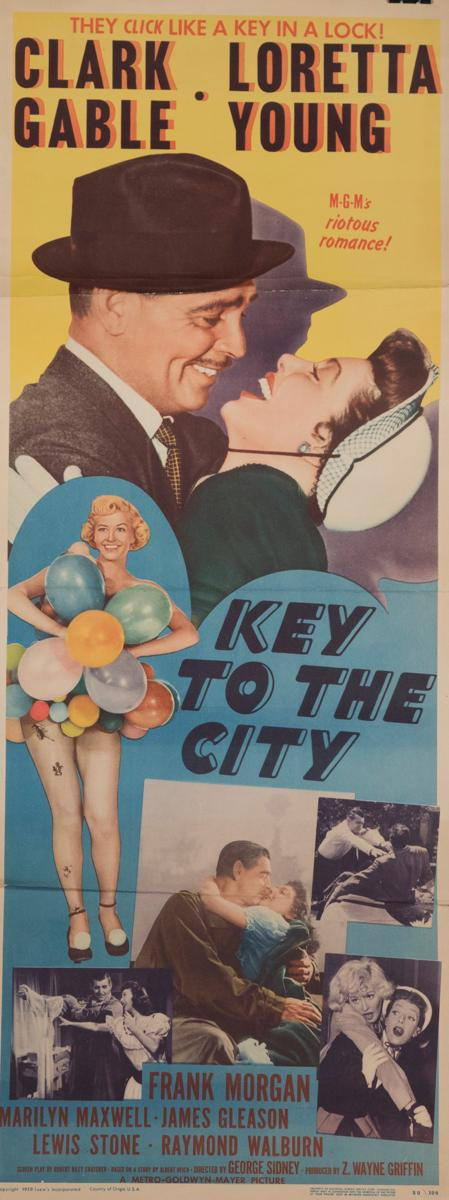 Key to the City, 1950, with Clark Gable and Loretta Young, insert poster
