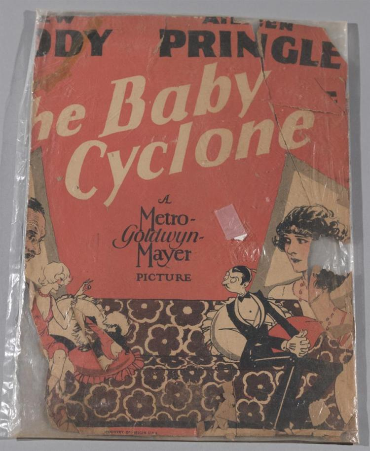 The Baby Cyclone, 1928, remains of a one sheet vintage poster, losses.