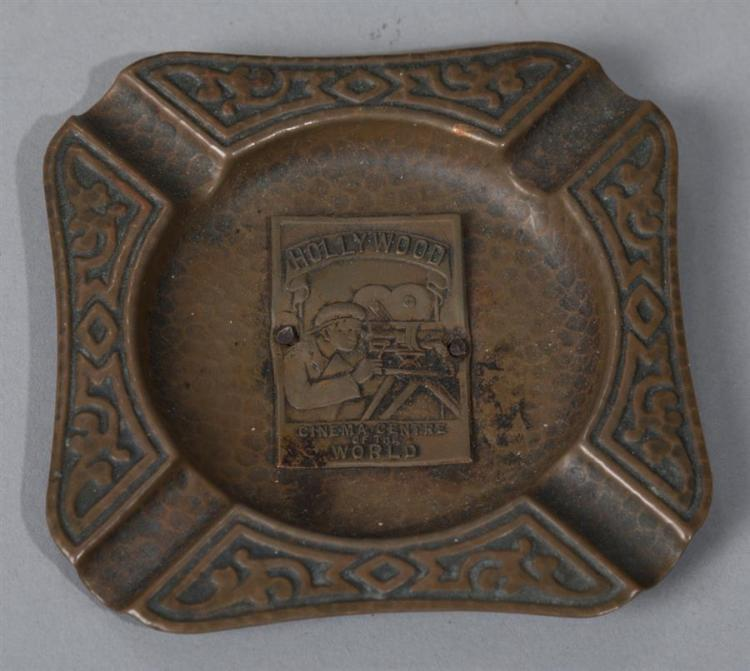 Vintage hammered copper souvenier ashtray: Hollywood, Cinema Center of the World.