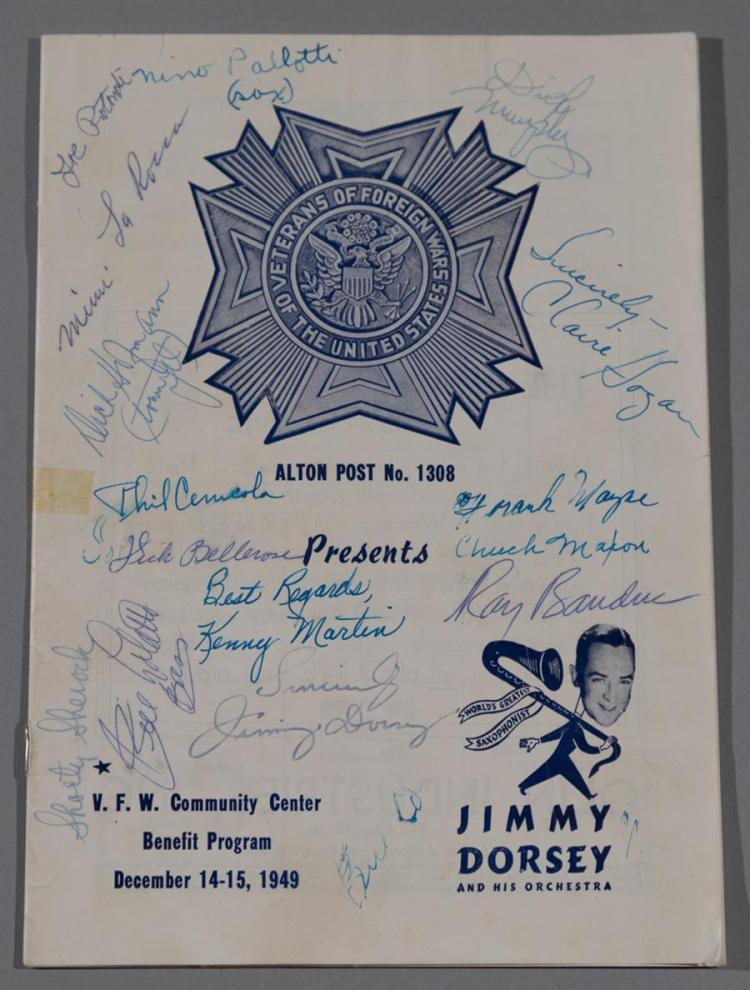 Jimmy Dorsey program from Dec. 14-15, 1949, VFW concert signed by the entire band.