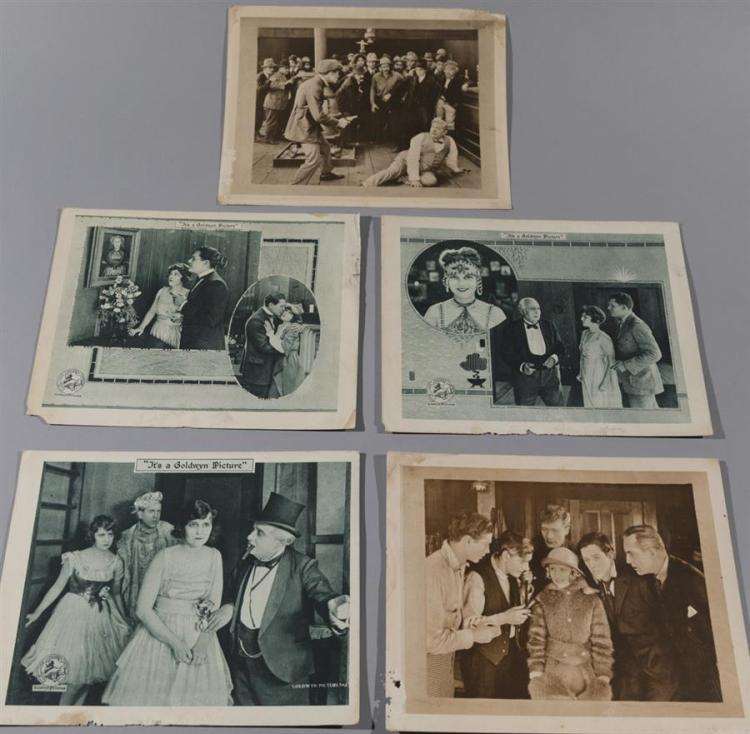 Set of five lobby cards circa 1910-1915, three with
