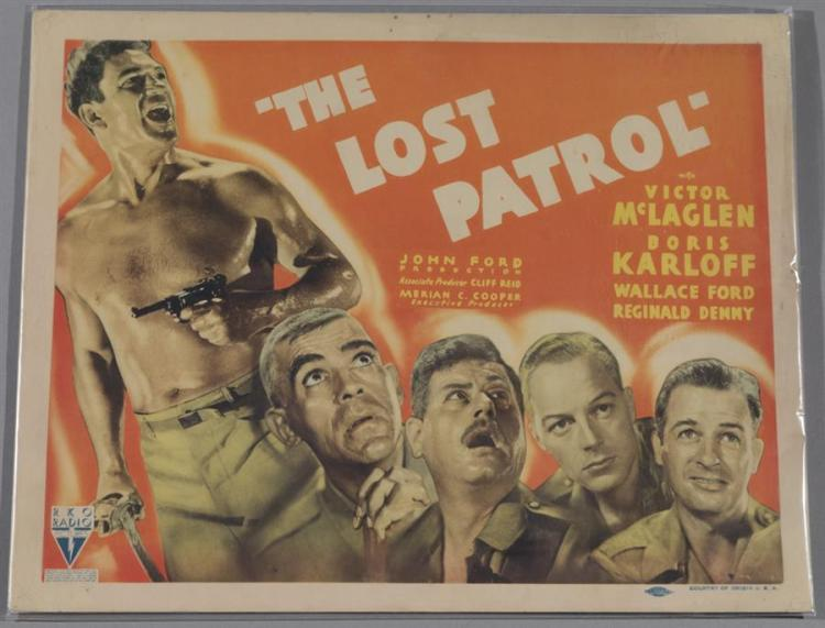 The Lost Patrol, 1934, with Boris Karloff, lobby card.