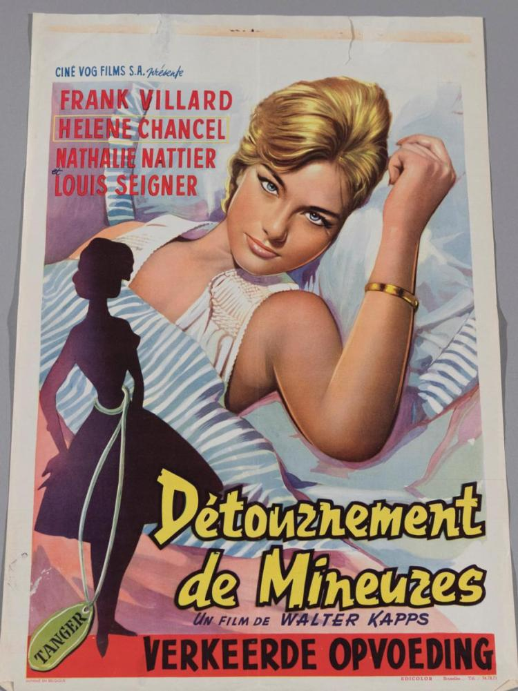 Old French Movie Poster, unframed, 21 x 15 inches