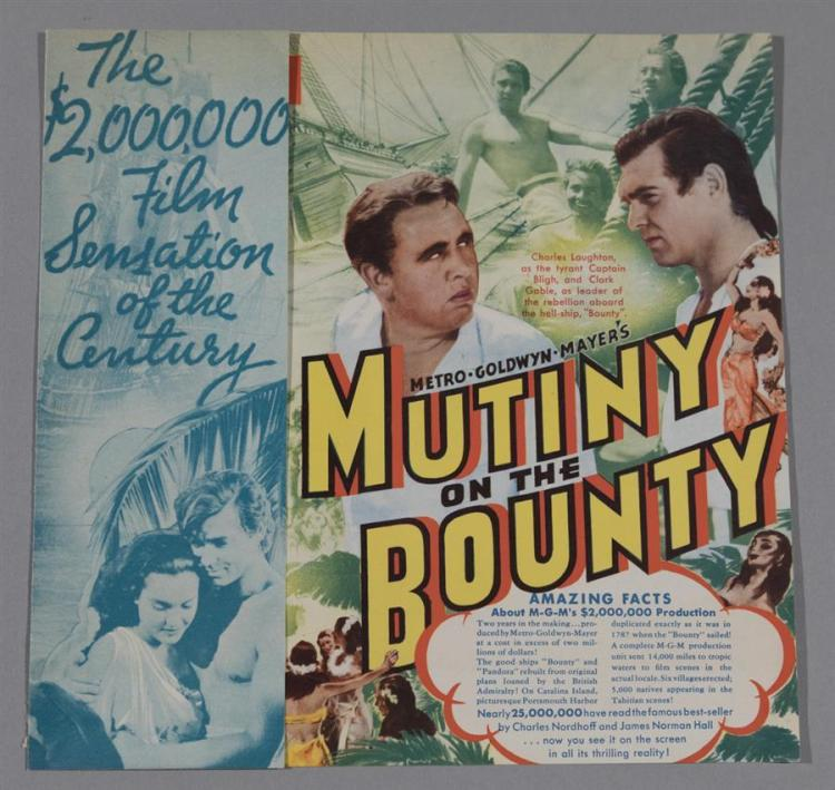 Mutiny on the Bounty promotional piece from the Strand Theater, 1936, stamped on the back with dates
