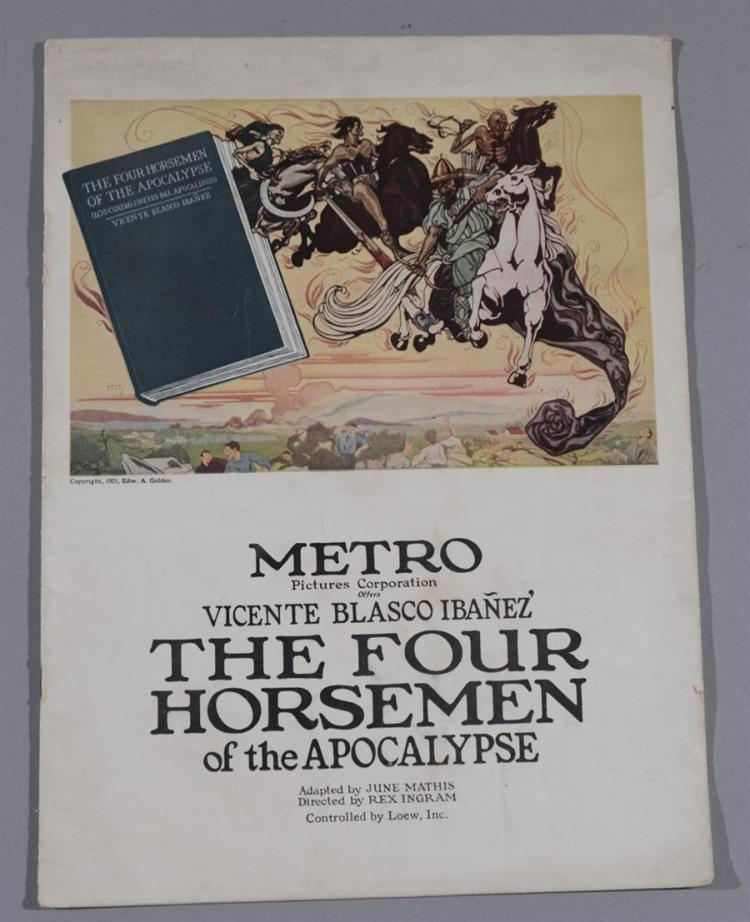 The Four Horsemen, Metro Pictures, 1921 original movie program