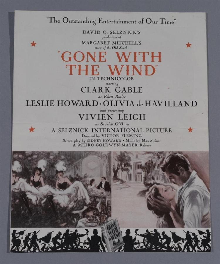 Gone with the Wind, vintage advertising movie herald for the 1940 national release of the classic film starring Clark Gable and Vivi...