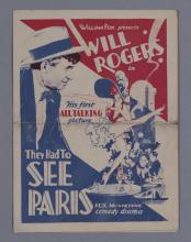 They Had to See Paris, presented by William Fox, starring Will Rodgers, his first talking picture, vintage advertising movie herald...
