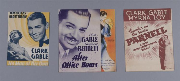 Three vintage movie heralds, Clark Gable fims: After Office Hours, 1935; Parnell, 1937; amd No Man of Her Own, 1932