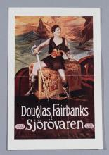 The Black Pirate (Sjorovaren), 1926 Douglas Fairbanks vintage Swedish movie herald.