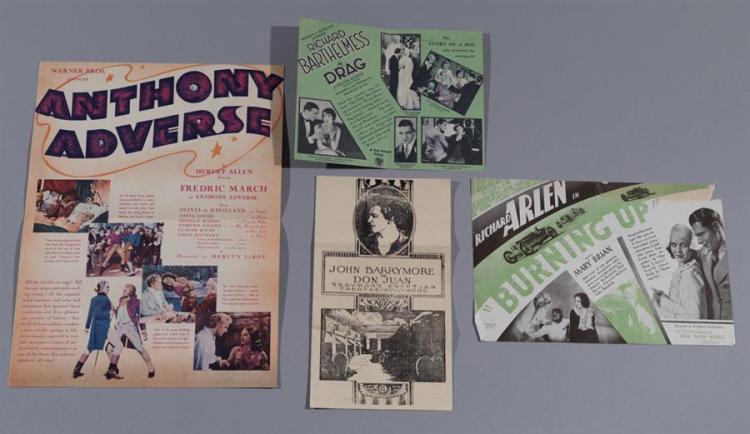 Three original movie heralds: Anthony Adverse, Warner Brothers, 1936; Drag, with Richard Bathelemess, 1929; and DOn Juan with John B...