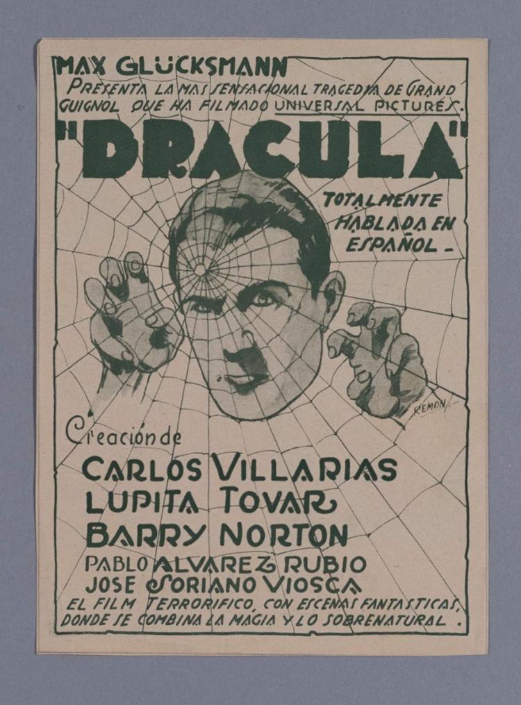 Dracula, 1931, Max Glucksmann, Universal Pictures vintage Spanish movie herald.