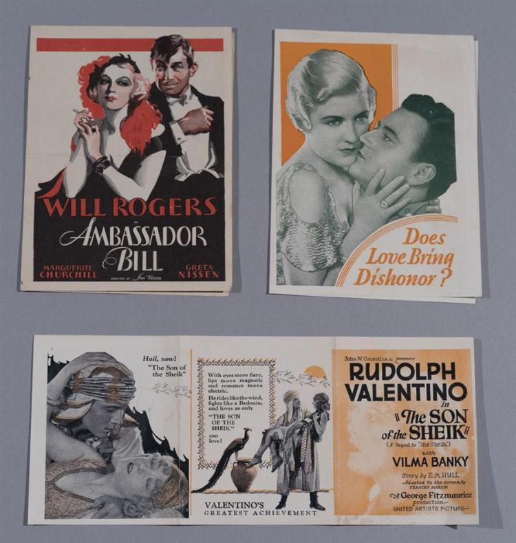 Three original advertising movie heralds: The Son of the Sheik, starring Rudolph Valentino, 1926; Arizona, 1931 starring John Wayne;...