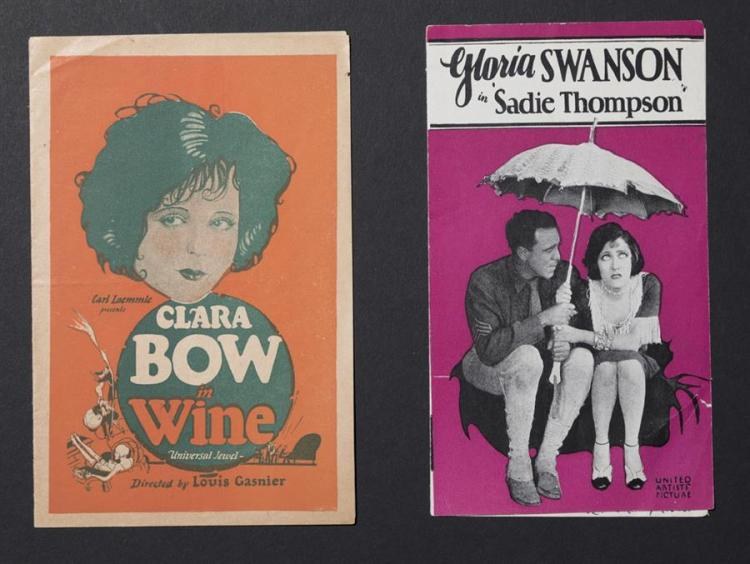 Group of two original advertising movie heralds: Wine, a Carl Laemmle film starring Clara Bow; and Sadie Thompson starring Gloria S...