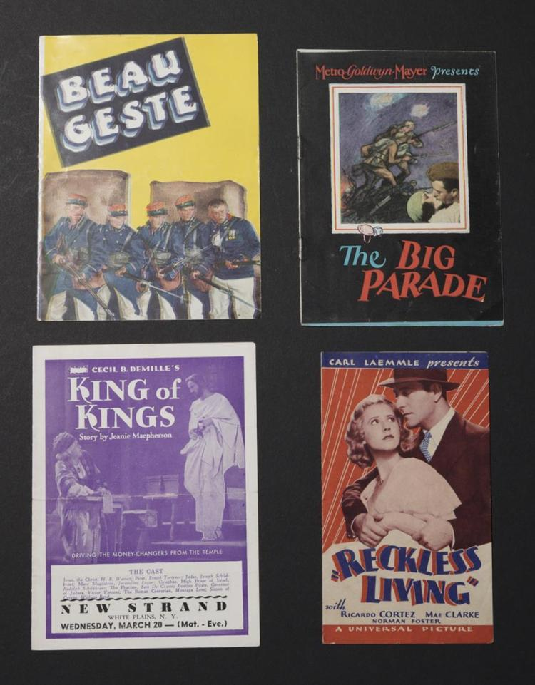 Group of four original advertising movie heralds including:  Reckless Living, a Carl Laemmle film starring Ricardo Cortez ad Mae Cla...