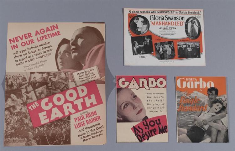 Group of four original advertising movie heralds: As You Desire Me, with Greta Garbo, 1932, MGM, directed by Luigi Pirandello; The ...
