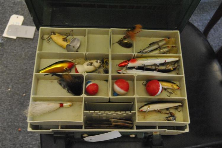 Fishing tackle box with an assortment of lures