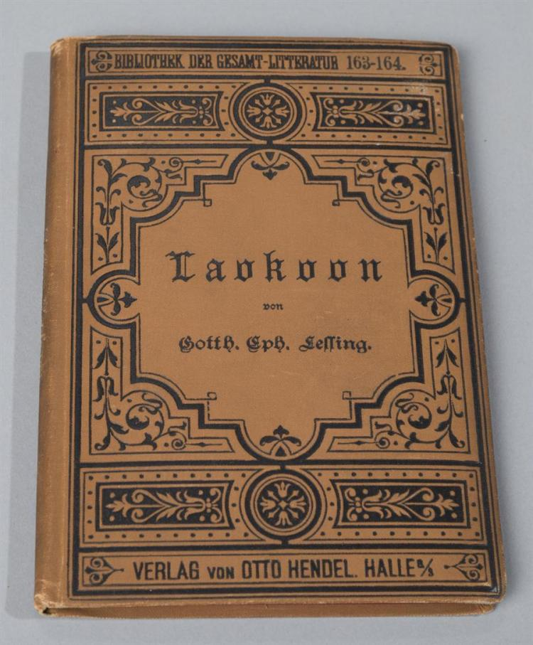 Lessing, Gotthold; Laokoon (Laocoon), In German, 1766, Verlag von Otto Hendel, library copy, hard cover with cloth and embossed cover