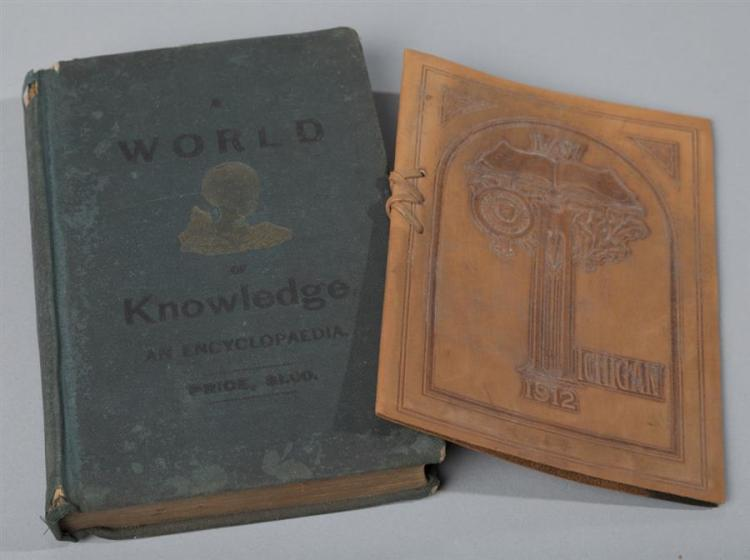 A World of Knowledge, An Encyclopedia, 1890; together with Michigan Law graduation program, 1912, leather bound