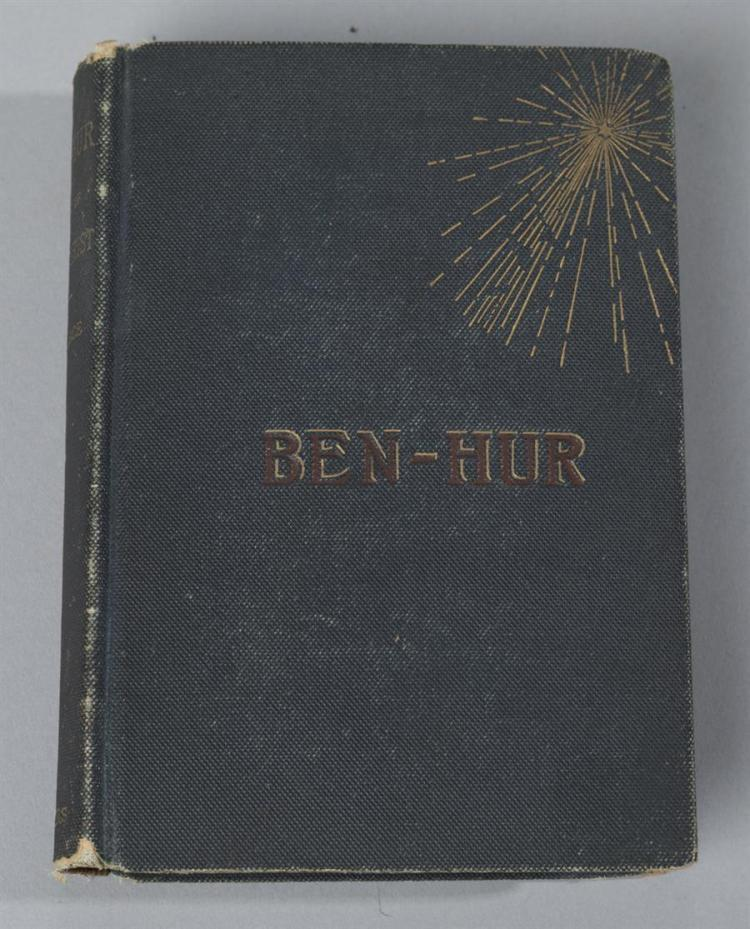 Wallace, Lew: Ben-Hur, Harper & Brothers, 1880, hard cover, 1st edition, second state, blue cloth covers with gilt starburst and re...