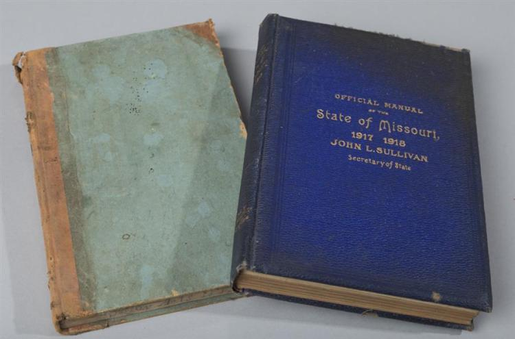 Two books on Missouri:  Official Manual of the State of Missouri, 1917; together with Laws of Missouri, 1883