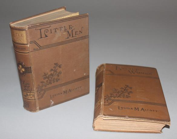 Alcott, Louisa May:  Little Women, and Little Men; published 1891, Roberts Brothers, Boston, two volumes, hardcover, brown cloth wit...
