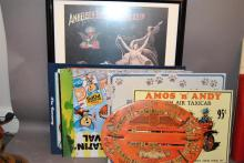 Collection of advertising pieces; eight metal plaques and framed Anheuser-Busch Beer poster, wooden Cressco Educational Spelling and...