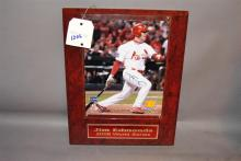 Cardinal's 2006 World Series plaque with Jim Edmonds signed photograph (10 x 8 in), plaque 15 x 12 in