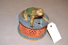Painted metal mechanical Frog Bank, J & E Stevens patented August 20, 1872