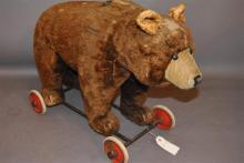 Steiff style GROWLER Bear on Wheels, brown mohair, pull ring, no button, 16 x 23 inches