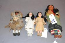 Four Native American Dolls; 11