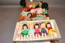 Large collection of assorted small dolls made of various materials, plastic, cloth, vinyl, wood, celluloid