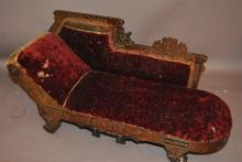 Victorian doll's fainting couch, woden frame with incied and carved decoration and name 'BERTIE', original burgundy velvet upholster