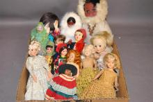 Collection of assorted handcrafted dolls, plastic, vinyl and cloth including two Carlson Native dolls wearing fur clothing, some in ...