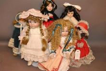 Six modern dolls including five with bisque heads by Lenox, Classic Fashion, Reco, Muci and Bradley plastic musical doll