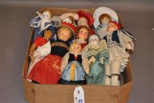 Collection of International souvenir dolls, bisque, pottery, china heads and Lenci Type Italian miniature doll by Eros, Florence, h:...