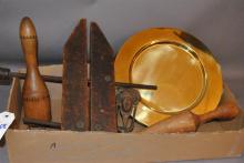 Collection of wooden tools; vintage Jorgensen clamps, mallets, with brass door knocker, handle and weight with eight brass chargers