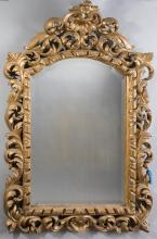 Antique Continental Gilt Wood Wall Mirror