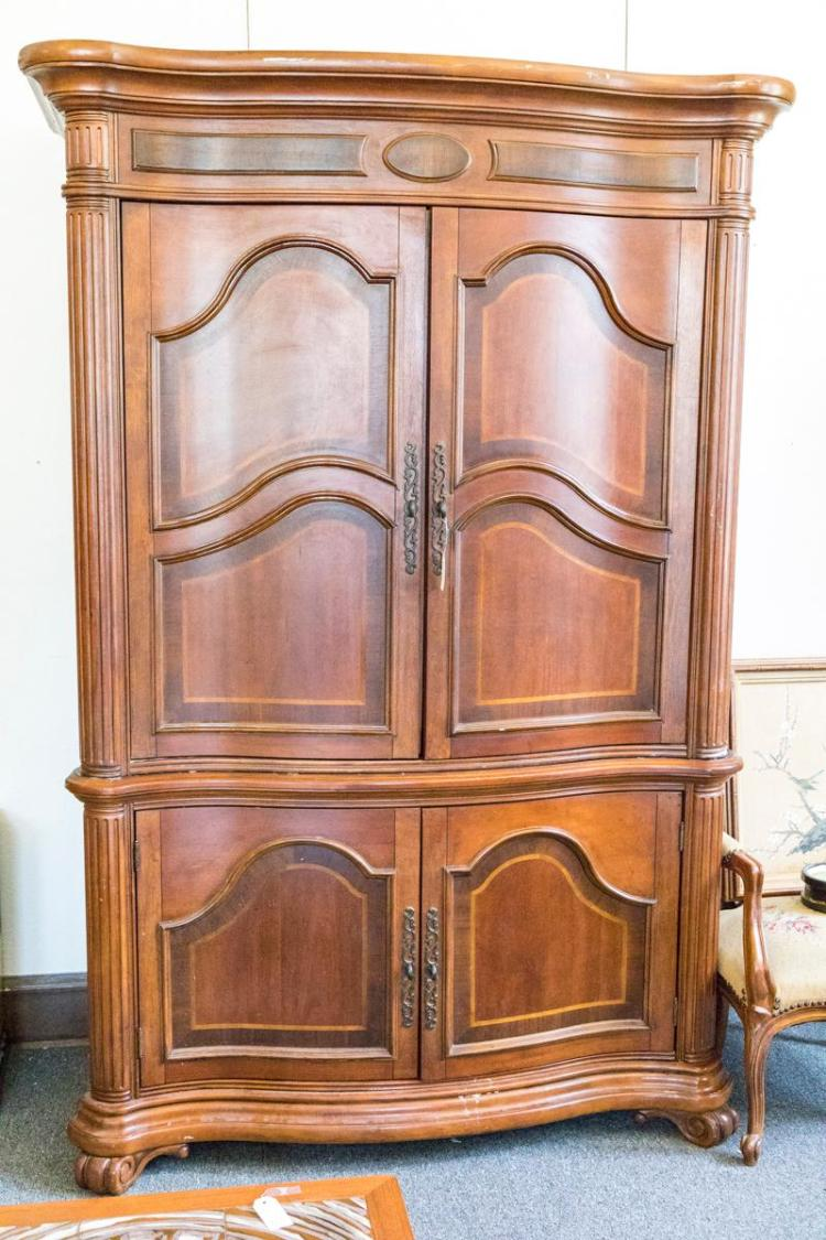 Two member cabinet featuring two cupboard doors above two do for Lower cabinet depth