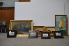 Assortment of six framed horse prints and two oil paintings