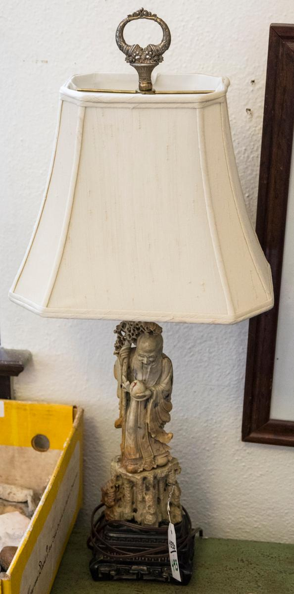 Carved Asian Design Soapstone Figural Table Lamp Of A Schola